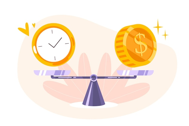 Время - денежный баланс на значке шкалы. концепция тайм-менеджмента, экономики и инвестиций. сравнение работы и стоимости, финансовая прибыль. векторная иллюстрация плоский монет, наличных денег и часов на качелях.