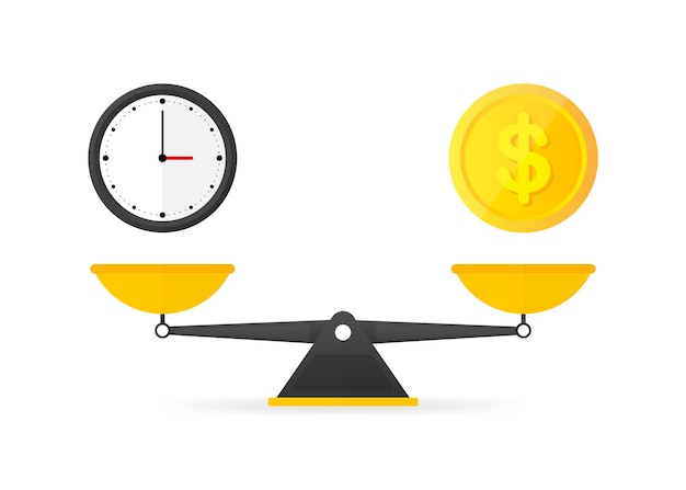 Time is money balance on scales icon. vector illustration.
