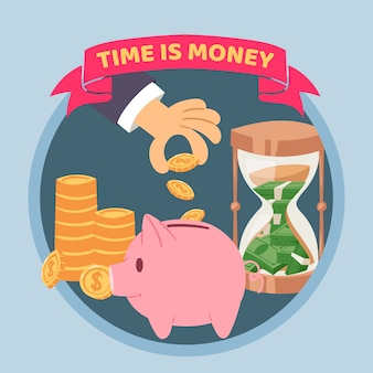 Time is money blue poster, illustration. human hand puts money into piggy bank, golden coins and sand clock. saving money and time concept with golden coins.