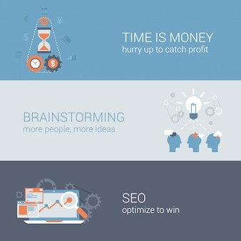 Time is money, brainstorming, seo business icons set.