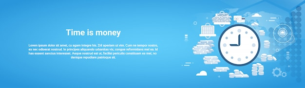 Time is money business template horizontal web banner