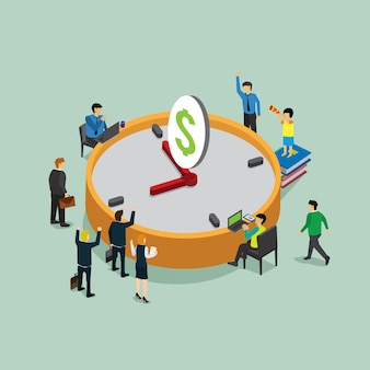 Time is money in business work with isometric concept