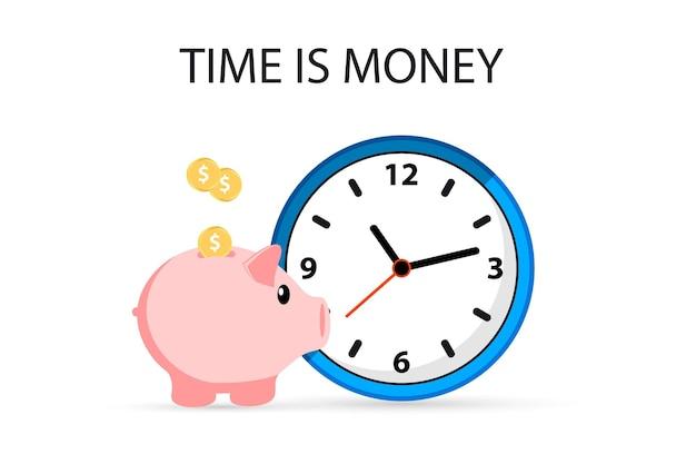 시간은 돈이다. 시계와 돼지 저금통. 비즈니스 개념입니다. 돼지 저금통에 시간을 절약하십시오.