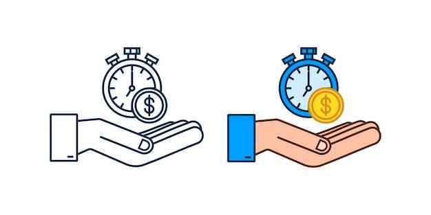 時間はお金の概念、時計とコインの手、長期的な金融投資です。ベクトルイラスト。