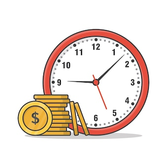 Time is money concept. clock and money flat