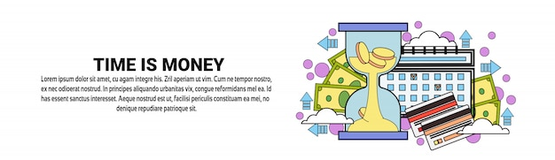 Time is money concept horizontal banner template