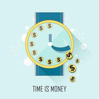 時間は細い線スタイルのお金の概念です