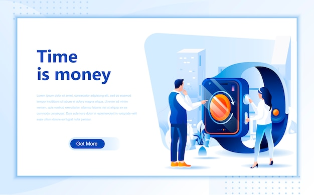 Time is money flat landing page template of homepage