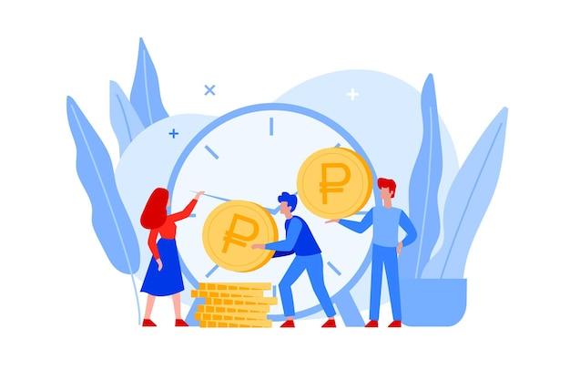 Время - деньги плоские векторные иллюстрации. финансовые вложения в будущее фондового рынка и маркетинговое планирование роста денег с помощью больших часов, золотых монет и деловых людей. экономьте время.