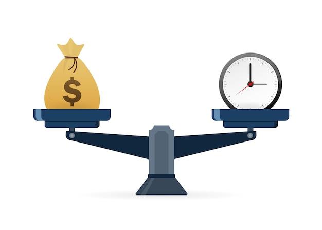 시간은 어떤 목적을 위한 돈 훌륭한 디자인입니다. 비즈니스 개념 벡터 일러스트 레이 션
