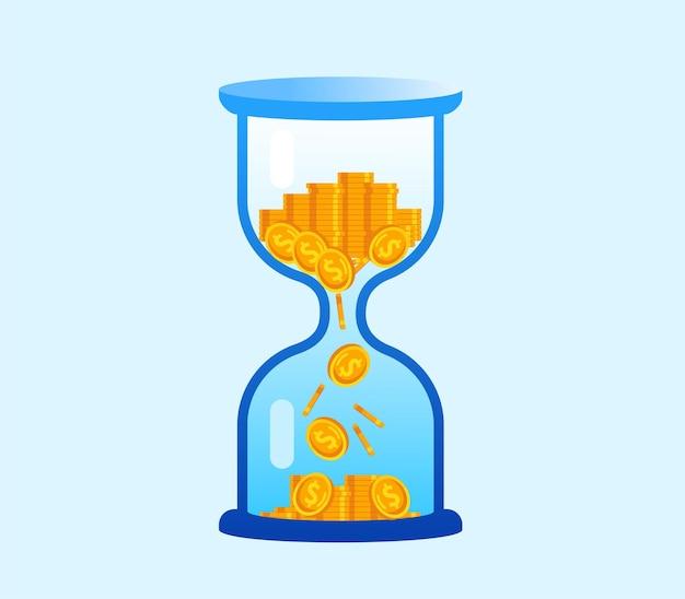 Время - деньги. песочные часы с монетой плоский векторные иллюстрации баннер