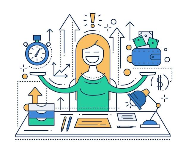 時は金なり-幸せな女性とベクトルモダンラインフラットデザイン構成とインフォグラフィック要素のイラスト
