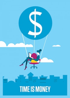 Time is money illustration. woman with laptop flying