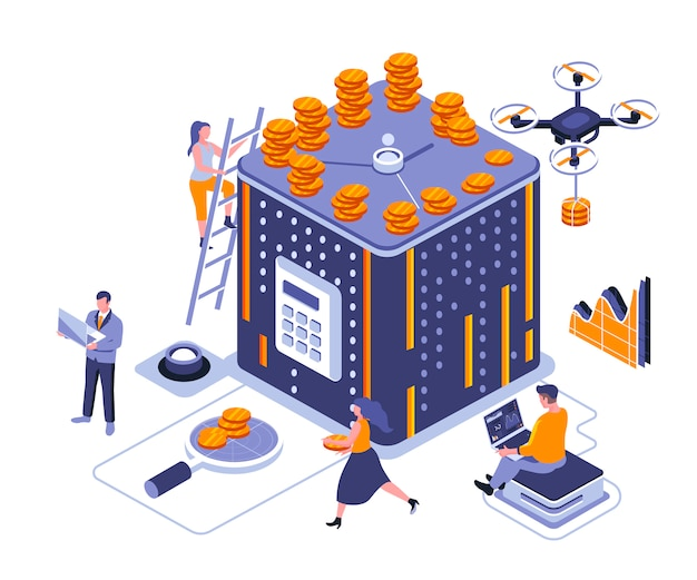 Time is money isometric   illustration