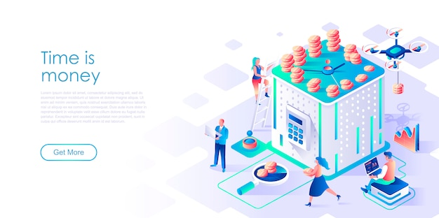 Time is money isometric landing page template