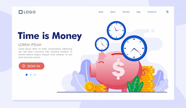 Time is money landing page website vector template