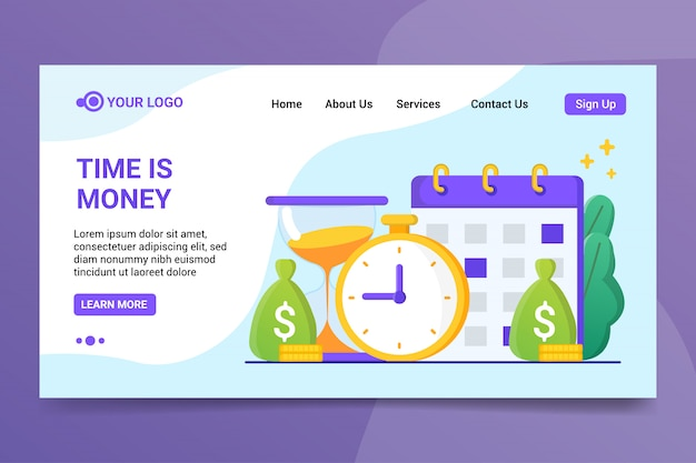 Time is money landing page