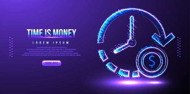 Time is money, low poly wireframe