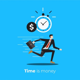 Time is money. management time with running business man