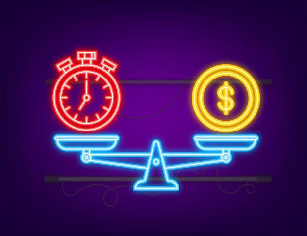 時間はスケールアイコンのお金です。ネオンアイコン。大規模なお金と時間のバランス。ベクトルストックイラスト。