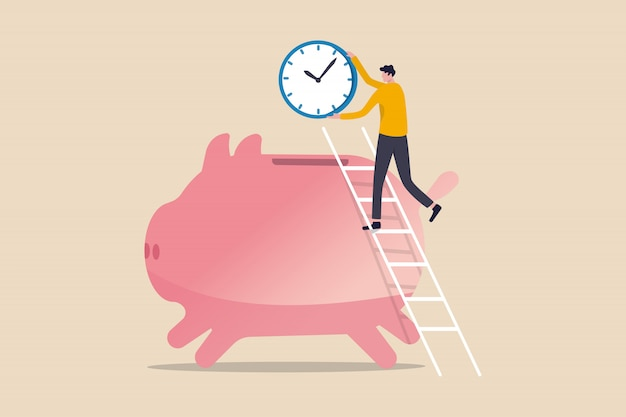 Time is money, people pay money to buy time that most important for success in financial goals concept, success man using ladder to climb and holding big clock or watch put into pink saving piggy bank