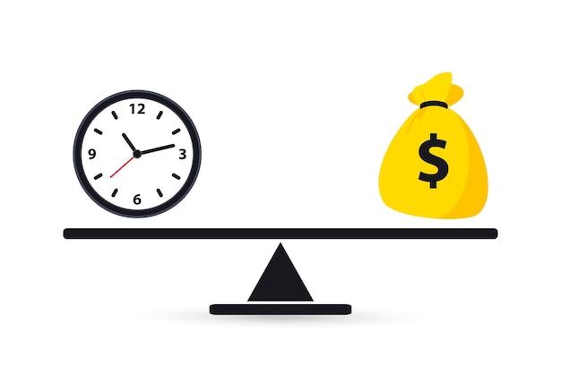 Время - деньги. весы взвешивают деньги и время. баланс денег и времени на шкале. бизнес-концепция. часы и денежный мешок на весах