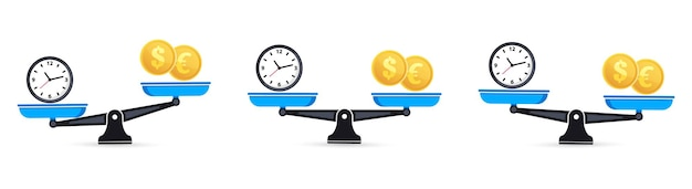 Time is money on scales. set of scales. money and time balance an imbalance of scales. clock and money symbols on scale. scales. time is money business concept