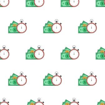 시간은 흰색 배경에 돈 원활한 패턴입니다. 비즈니스 테마 벡터 일러스트 레이 션