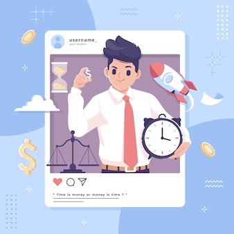 Time is money with social media concept illustration