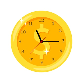 Time is money yellow clock icon with dollar symbol