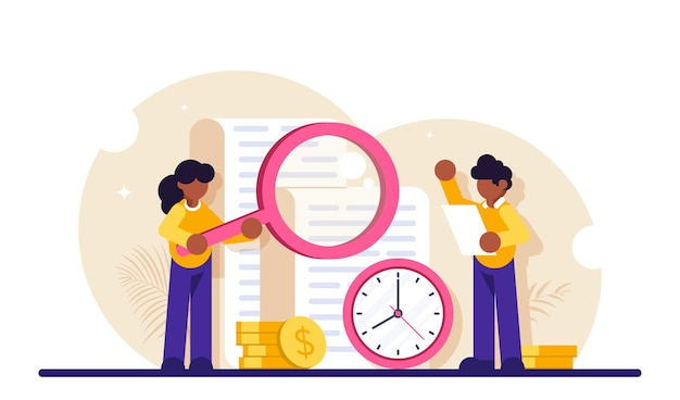 시간 기록. 보고서, 시계 및 스택 동전 근처에 돋보기 서 남자와 여자.