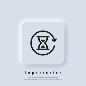 Time logo. hourglass icon. timer expectations. wait. icon hours. vector eps 10. neumorphic ui ux