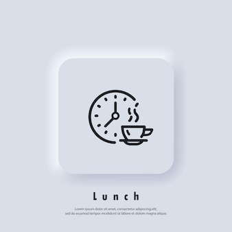 Time for lunch. lunch icon. meal breaks icon. time break. dinner. food time logo. vector. ui icon. neumorphic ui ux white user interface web button.
