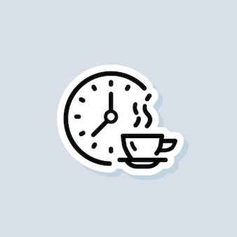 Time for lunch sticker, logo, icon. vector. meal breaks icon. time break. dinner. food time logo. vector on isolated background. eps 10