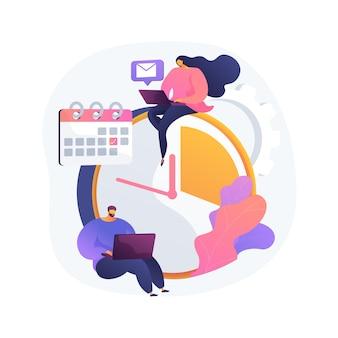 Illustrazione di vettore di concetto astratto di gestione del tempo. strumento di monitoraggio del tempo, software di gestione, pianificazione efficace, produttività sul lavoro, orologio, sistema di controllo, metafora astratta della pianificazione del progetto.