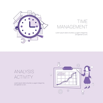 Time management and analysis activity concept template web banner with copy space