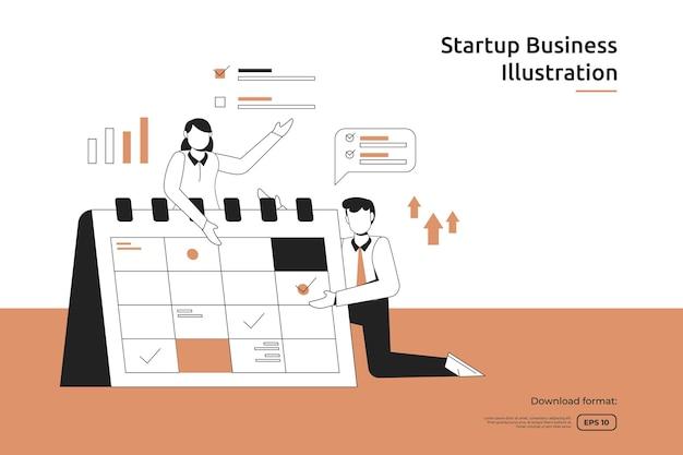 사업가와 달력 삽화를 사용한 시간 관리 및 비즈니스 계획 일정. 시작 시작 및 투자 벤처 개념입니다. 팀워크 은유 디자인 웹 방문 페이지 또는 모바일 웹사이트