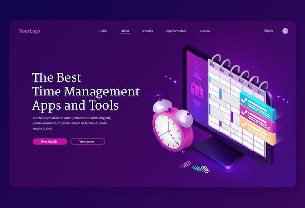 Time management apps and tools isometric landing page, computer desktop with planner or calendar on screen and alarm clock, pc software for work organization, planning and control 3d web banner