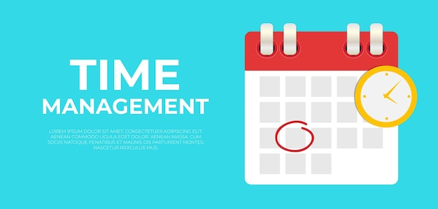Time management banner with calendar date and clock icon.
