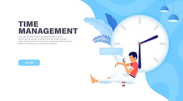 Time management banner with character, guy stopped time for rest