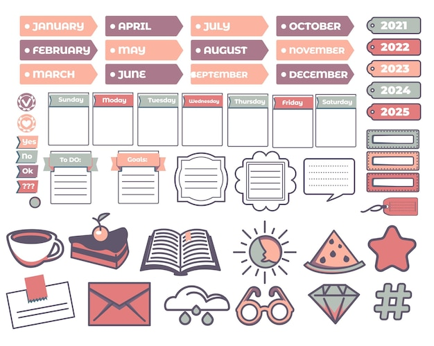 Time management book stickers and decorative label. calendar with months and years, cup of coffee, envelope and watermelon, star and diamond shape. empty borders with lines. vector in flat style