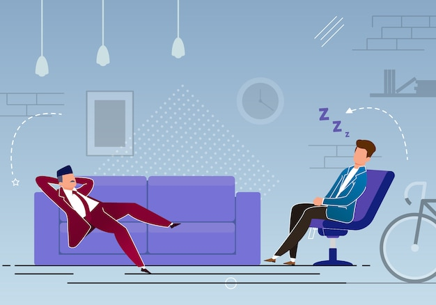 Time management, break in work cartoon,