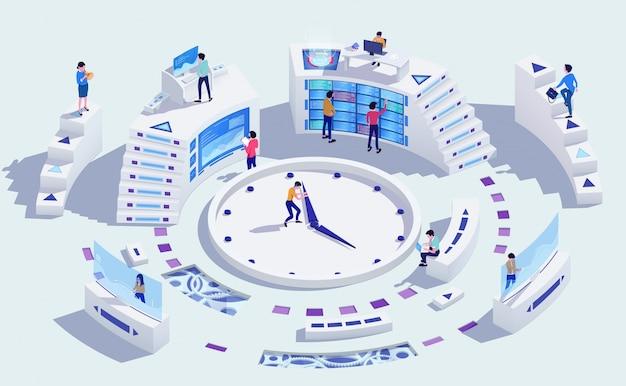 시간 관리 사업 개념, 일러스트레이션
