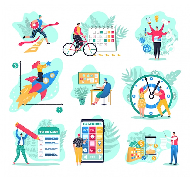 Time management in business set of  illustrations. success in business planning and results, managers with planners, watch, plan strategy and efficiency. businessman managing workweek.