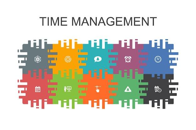 フラットな要素を持つ時間管理漫画テンプレート。効率、リマインダー、カレンダー、計画などのアイコンが含まれています