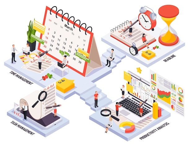 Time management compositions set in isometric view