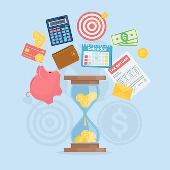 Time management concept as time is money illustration