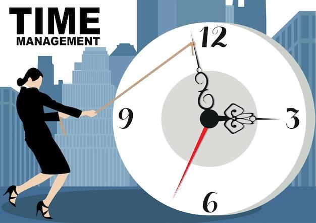 時間管理の概念のバナー。 webバナー、情報グラフィック、ヒーロー画像に使用します。都市の背景に分離された搭乗イラストのフラットベクトル。