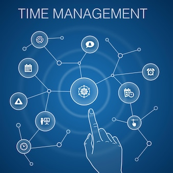 Time management concept, blue background.efficiency, reminder, calendar, planning icons