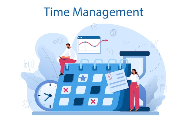 시간 관리 개념. 비즈니스 사람들은 시간 또는 프로젝트 계획을 수행합니다. 일정 및 구성 아이디어. 생산적인 일과 작업 최적화.